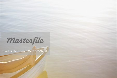 Bare feet in rowboat on lake Stock Photo - Premium Royalty-Free, Image code: 635-03859780