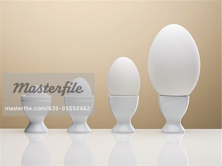 Various eggs in egg cups Stock Photo - Premium Royalty-Free, Image code: 635-05550662