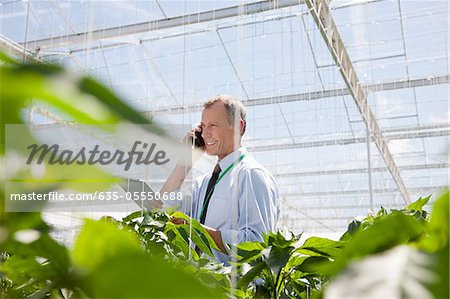 Businessman talking on cell phone in greenhouse Stock Photo - Premium Royalty-Free, Image code: 635-05550688