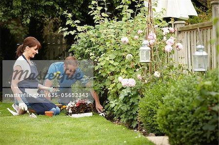 Couple gardening together in backyard Stock Photo - Premium Royalty-Free, Image code: 635-05652343