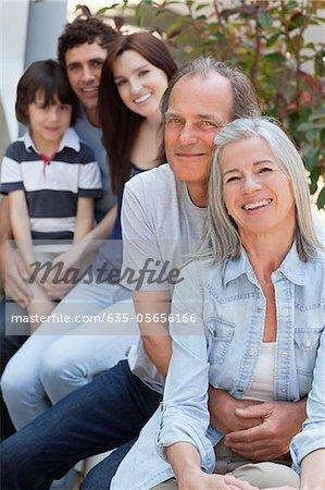 Portrait of smiling multi-generation family