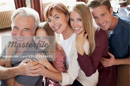 Portrait of smiling multi-generation family Stock Photo - Premium Royalty-Free, Image code: 635-05656455