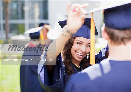Students smiling together outdoors Stock Photo - Premium Royalty-Free, Image code: 635-05971519