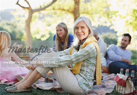 Family picnicking together outdoors Stock Photo - Premium Royalty-Free, Image code: 635-05972076