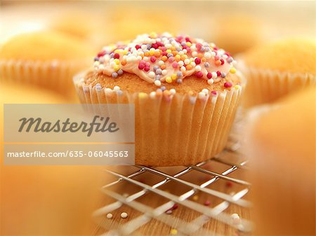 Close up of sprinkled cupcake cooling on wire rack Stock Photo - Premium Royalty-Free, Image code: 635-06045563
