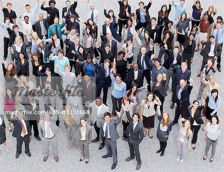 Portrait of smiling and gesturing crowd Stock Photo - Premium Royalty-Free, Image code: 635-06191668