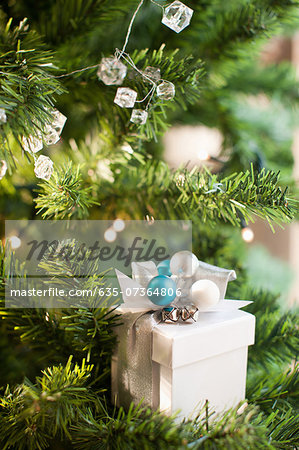 Christmas gift and ornaments on tree Stock Photo - Premium Royalty-Free, Image code: 635-07364806
