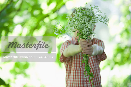 Boy offering bouquet of flowers Stock Photo - Premium Royalty-Free, Image code: 635-07494803
