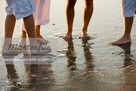 Close-up of bare feet of a family of four standing on wet sand on beach Stock Photo - Premium Royalty-Free, Image code: 638-01584075