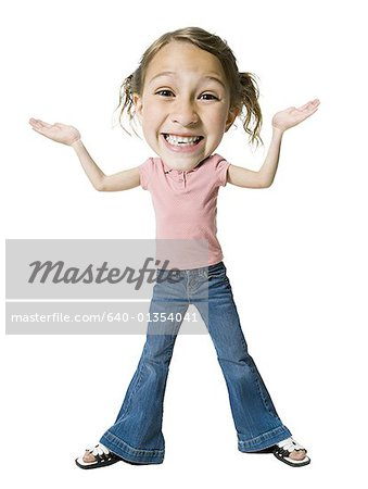 Portrait of a girl shrugging Stock Photo - Premium Royalty-Free, Image code: 640-01354041