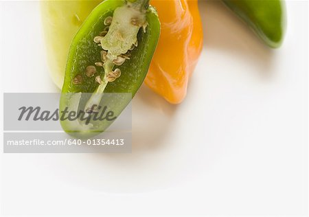 Close-up of chili peppers Stock Photo - Premium Royalty-Free, Image code: 640-01354413