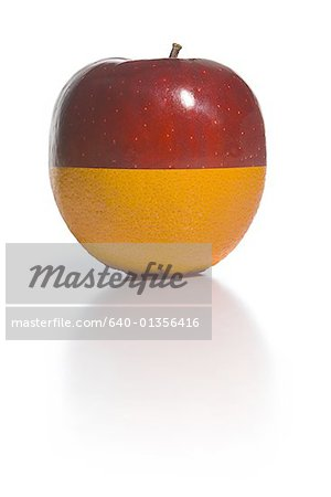 Close-up of the half of an apple (Malus domestica) and half of an orange (citrus sinensis) put together Stock Photo - Premium Royalty-Free, Image code: 640-01356416