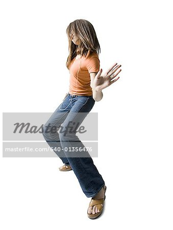 Profile of a girl dancing Stock Photo - Premium Royalty-Free, Image code: 640-01356476