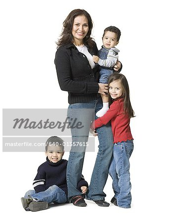 Portrait of a mother and her three children Stock Photo - Premium Royalty-Free, Image code: 640-01357615