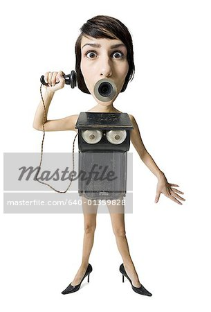 Caricature of a young woman as an old telephone Stock Photo - Premium Royalty-Free, Image code: 640-01359828