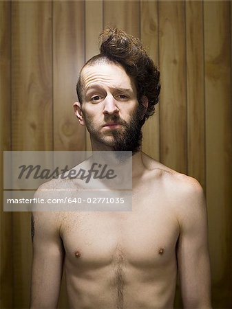 Brilliant Man With Half Shaved Head And Beard Half Smiling Stock Photos Short Hairstyles For Black Women Fulllsitofus
