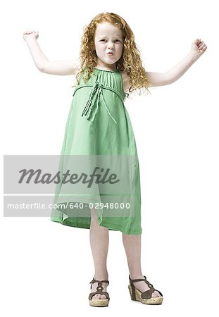 girl in a green dress Stock Photo - Premium Royalty-Free, Image code: 640-02948000