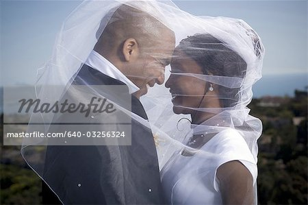 Profile of a newlywed young couple under a veil Stock Photo - Premium Royalty-Free, Image code: 640-03256324