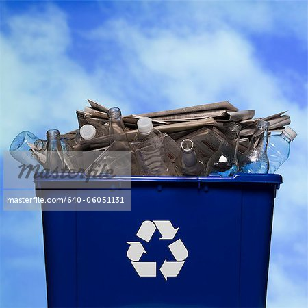 full recycling bin Stock Photo - Premium Royalty-Free, Image code: 640-06051131
