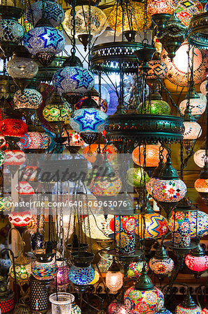 Turkey, Grand Baazar, Close up of colorful lamps Stock Photo - Premium Royalty-Free, Image code: 640-06963076