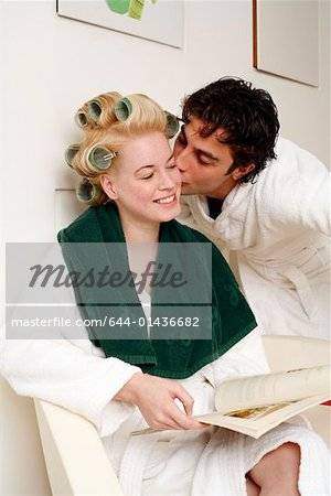 Young couple waiting in a beauty salon Stock Photo - Premium Royalty-Free, Image code: 644-01436682