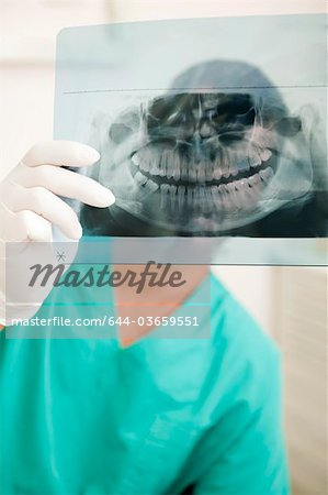 Dentist holding dental panoramic xray Stock Photo - Premium Royalty-Free, Image code: 644-03659551