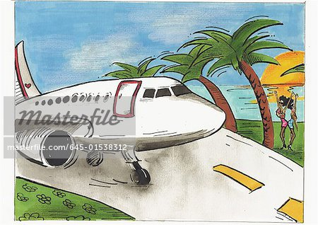 Airplane on runway in tropical location with two local women there to greet their arrival Stock Photo - Premium Royalty-Free, Image code: 645-01538312