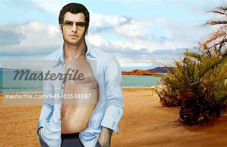 Man with shirt open posing on beach Stock Photo - Premium Royalty-Free, Image code: 645-01538387
