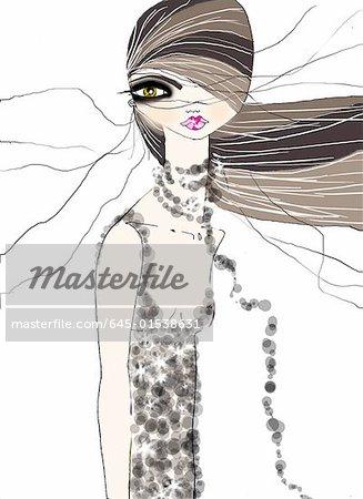 Woman in a beaded dress