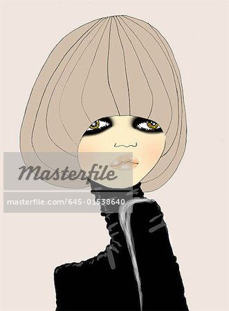 Closeup of woman in bowl haircut and black turtleneck Stock Photo - Premium Royalty-Free, Image code: 645-01538640