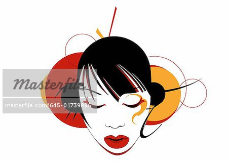 Asian woman's head with circles in the background Stock Photo - Premium Royalty-Free, Image code: 645-01739896