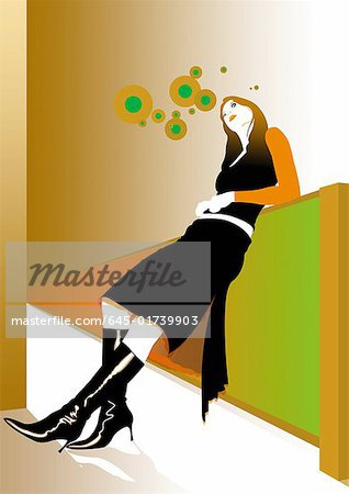 Young woman leaning back on wall Stock Photo - Premium Royalty-Free, Image code: 645-01739903