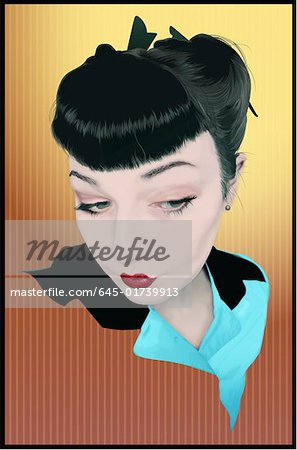 Portrait of trendy young woman with short bangs and pursed lips Stock Photo - Premium Royalty-Free, Image code: 645-01739913
