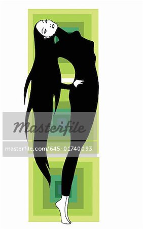 Woman performing a back stretch Stock Photo - Premium Royalty-Free, Image code: 645-01740093