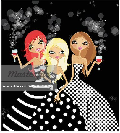 Three women dressed up holding glasses of red wine Stock Photo - Premium Royalty-Free, Image code: 645-01740152