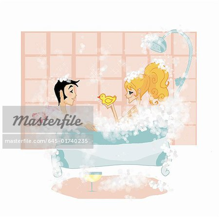 Couple in bathtub together Stock Photo - Premium Royalty-Free, Image code: 645-01740235
