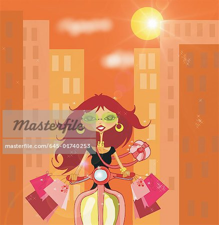 Woman riding her Vespa with shopping bags Stock Photo - Premium Royalty-Free, Image code: 645-01740253