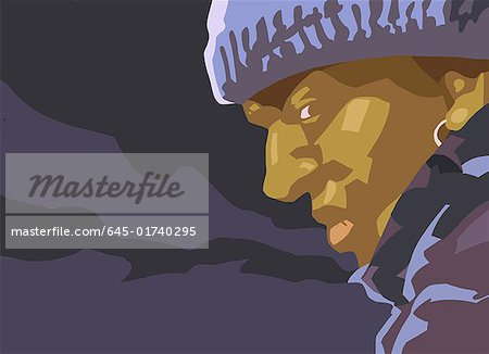 Closeup of black man in the night wearing a cap Stock Photo - Premium Royalty-Free, Image code: 645-01740295