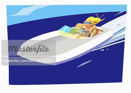 Blonde speeding in motor boat Stock Photo - Premium Royalty-Free, Image code: 645-01740339