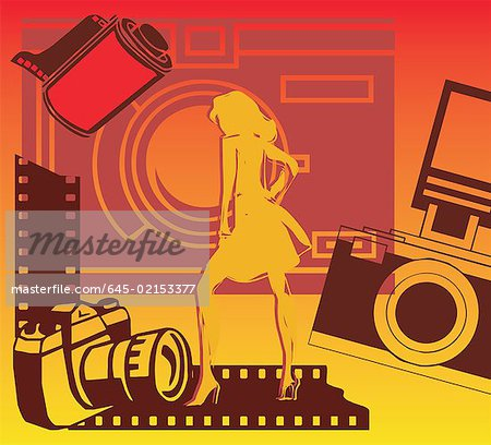Woman with cameras and filmstrip Stock Photo - Premium Royalty-Free, Image code: 645-02153377