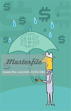 Man standing in rain holding umbrella and dollar symbols in the sky Stock Photo - Premium Royalty-Free, Image code: 645-02153384