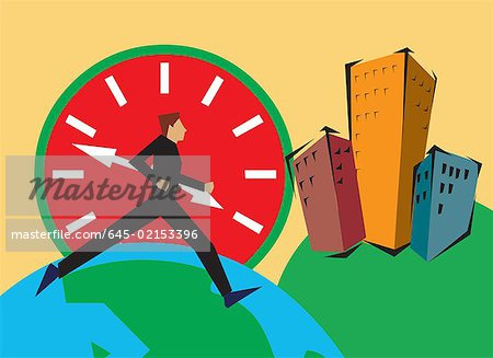 Side view of a man running on globe by buildings and clock Stock Photo - Premium Royalty-Free, Image code: 645-02153396