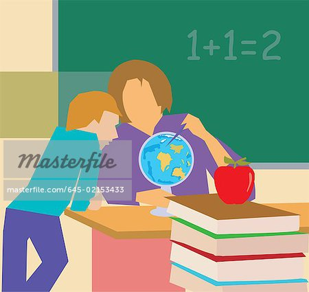 Teacher showing globe to student Stock Photo - Premium Royalty-Free, Image code: 645-02153433