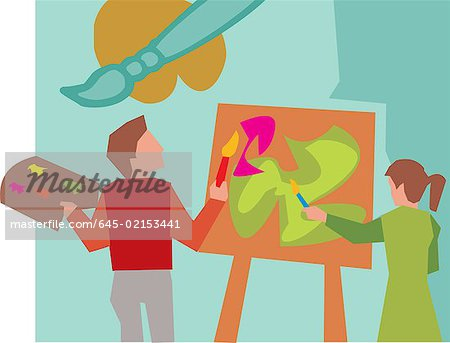 Rear view of students painting in art class Stock Photo - Premium Royalty-Free, Image code: 645-02153441