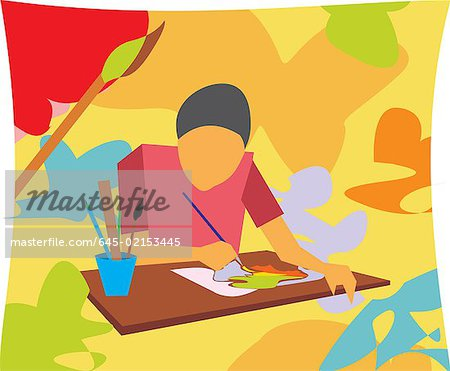 Front view of boy painting in an art class Stock Photo - Premium Royalty-Free, Image code: 645-02153445