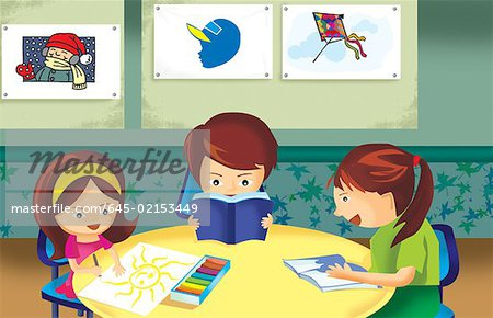 Student Studying In Class Room Stock Photo - Premium Royalty-Free, Image code: 645-02153449