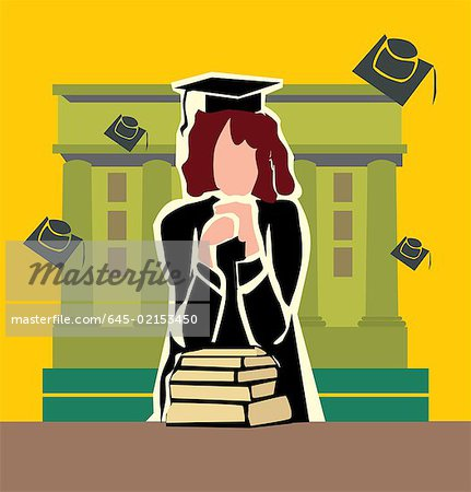 Front view of a graduate woman standing by the campus Stock Photo - Premium Royalty-Free, Image code: 645-02153450