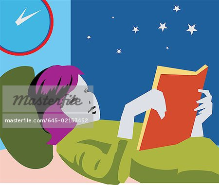 Girl reading book while lying on bed Stock Photo - Premium Royalty-Free, Image code: 645-02153452
