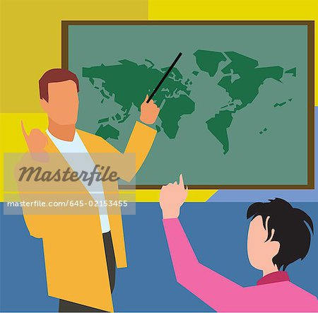Teacher showing world map to student in geography class Stock Photo - Premium Royalty-Free, Image code: 645-02153455