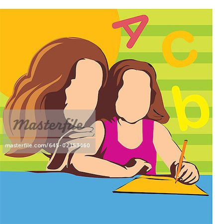 Mother teaching her daughter Stock Photo - Premium Royalty-Free, Image code: 645-02153460